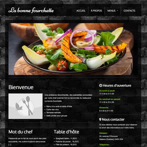 Modèle de site - Restaurant Rafiné
