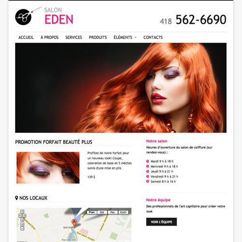 Modèle de site - Salon de coiffure