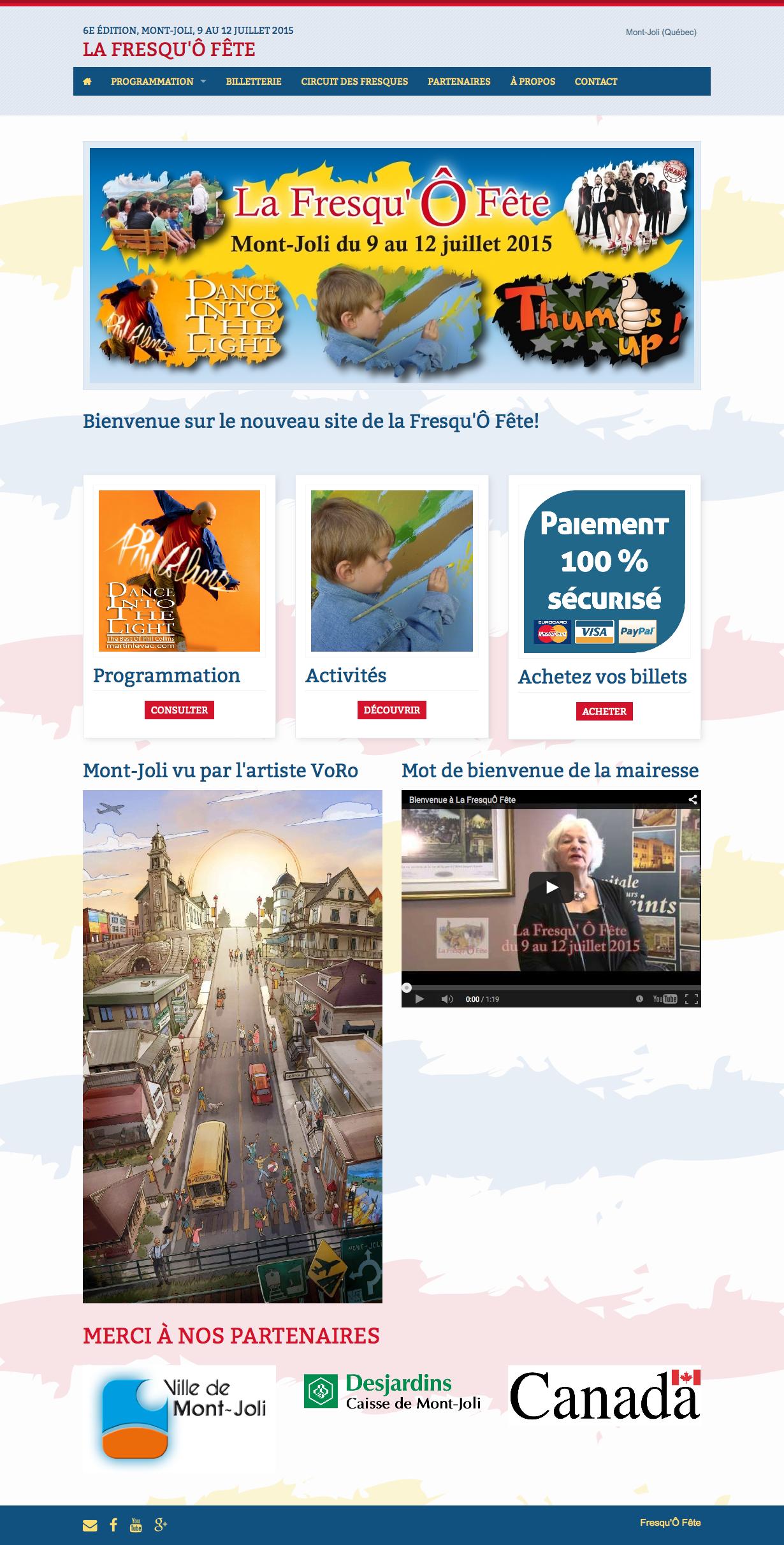 Le site Web de la Fresqu'Ô Fête réalisé avec Mon site Primo