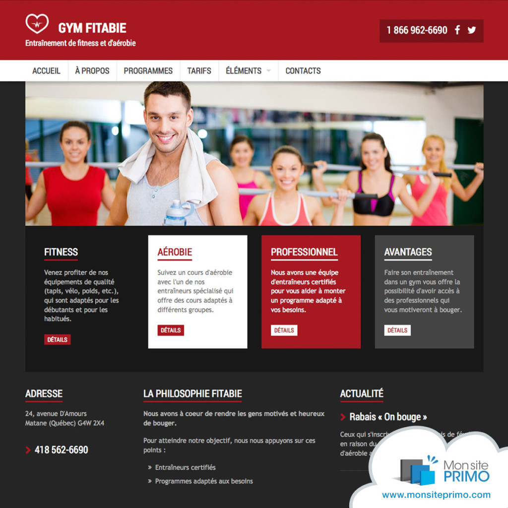 Modèle pour centre d'entraînement | Mon site Primo