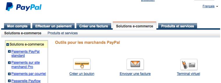 Créer un bouton Paypal