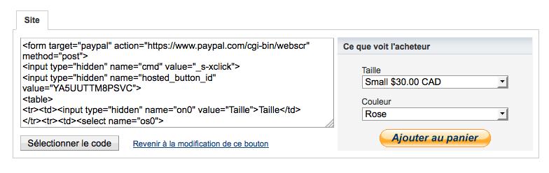 Code à intégrer d'un bouton PayPal